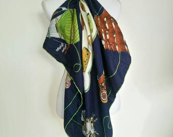 Vintage Tittorio Elegant Roma Silk Large Scarf