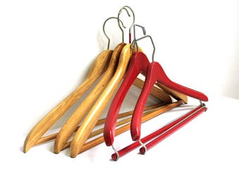 Set 5 Vintage Wood Clothes Hanger Wooden Coat Hanger Brown Red Trousers Pants Clothes Storage Retro Wardrobe Organizing Rustic Wedding Decor