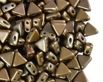 50pcs Kheops Par Puca Beads  - czech pressed 2-hole glass beads, Triangle, 6 mm, Crystal Grey Rainbow (KP012)