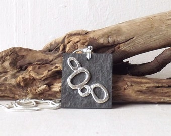 Slate Pendant - Slate Necklace - Lake District Slate Pendant - Silver Plated and Slate - Natural Stone Pendant