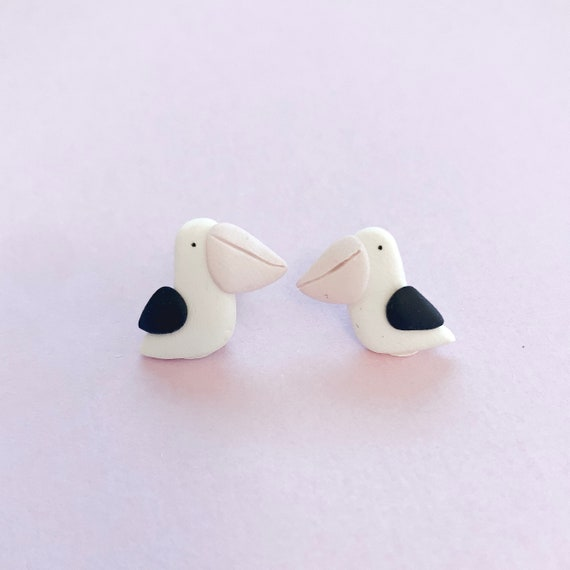 Pelican earrings - beautiful handmade polymer clay jewellery by Clay & Clasp