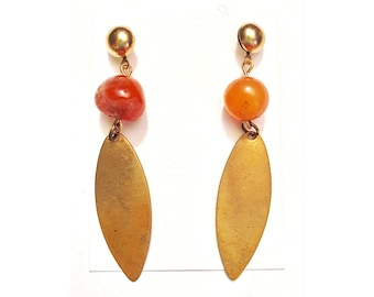 Beautiful Agate and brass dangle earrings