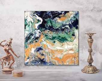 Abstract Acrylic Painting on Canvas | Blue Green Gold White | 20x20cm | Original