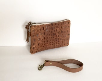 Distressed Alligator Embossed Leather Pouch, Leather Wristlet, Smartphone Wallet, Small Clutch Purse