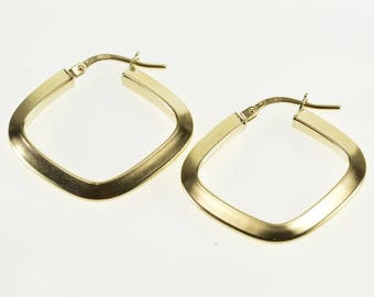 14k Ridged Rounded Square Hollow Hoop Earrings Gold