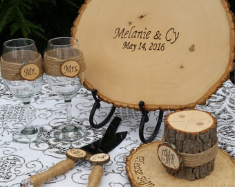 Rustic Wedding Decor, Guest Book Alternative, Log Pen Holder, Log Slice Wine Glasses, Rustic Cake Server Set, Wood Slice, Personalized Log