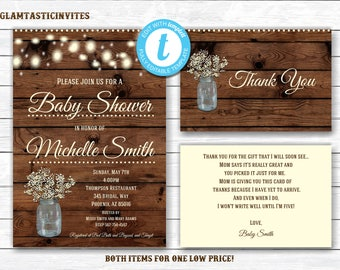RUSTIC BABY SHOWER Invitation, Flower Baby Shower Invitation, Wood Baby Shower Invitation, Country Baby Shower, Vintage Baby Shower, Branch