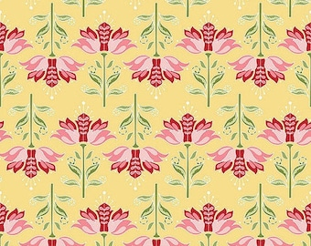 By The HALF YARD - Apple of My Eye by The Quilted Fish for Riley Blake, #C2892 Yellow Apple Floral, Pink, Red and Green Flowers on Yellow