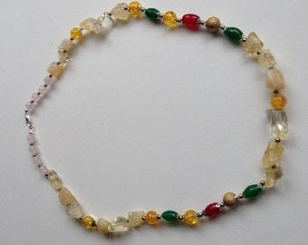 """24"""" Quarts,Citrine,Jade,Ruby multicolor necklace"""