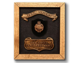 ROYAL TANK REGIMENT Plaque - the perfect military gift / present. Birthday Fathers Day Promotion Christmas. Includes official badge & motto