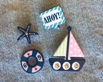 Sailor Pinback Set  - Sailboat Pin, Ahoy! Pin, Life Buoy Pin, Starfish Pin  / FREE SHIPPING