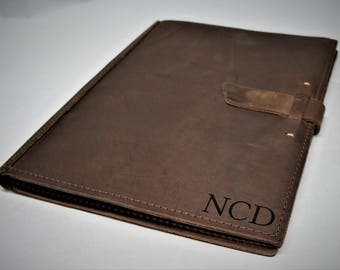 Engraved Large Leather Pad Portfolio Custom Engraved Personalized by Laser