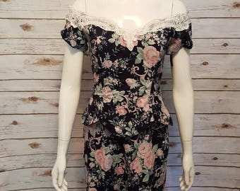 Vintage, 80's, Jessica McClintock navy floral dress/ fitted & structured, Size 4