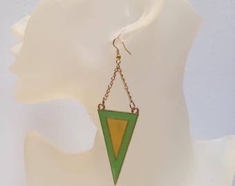 Green and yellow triangle charm earrings