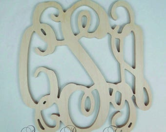 3 Initial Vine Monogram Woodcut