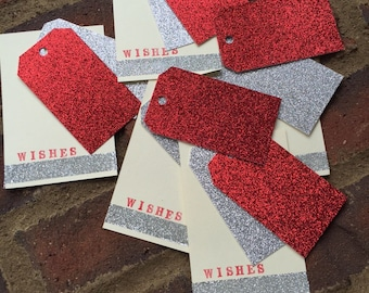 wishes . sentiment . holiday Christmas . tags . red . glitter . tags . silver . glitter . tags