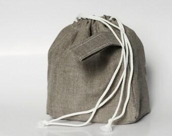 SALE. MINI Knitting Project Bag. Natural Dark Linen... Special KnitterBag design.