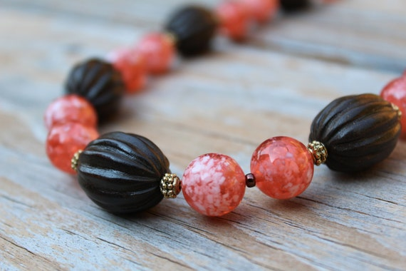 Wood Bead Necklace, Chunky Orange Beaded Necklace, Short Brown Necklace, Brown and Orange, Preppy Beaded Jewelry Gift For Her