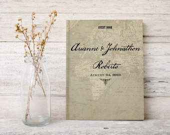 Map wedding guest book, Wedding guestbook, Hardcover Sign in book,  Vintage maps gb0059