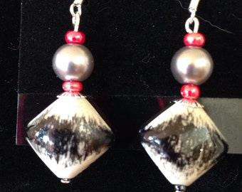 Abstract black grey red glass beads
