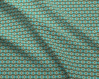 Navajo Inspired Fabric - Native American Bead Pattern Turquoise By Khaus- Geometric Tribal Cotton Fabric by the Yard With Spoonflower