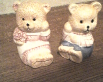 Vintage Teddy Bear Boy and Girl Salt and Pepper Shakers