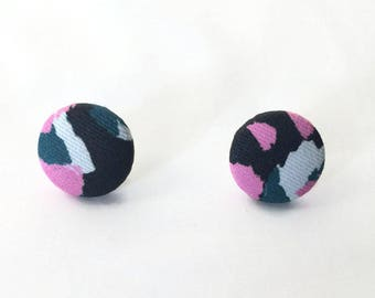 Fabric Covered Earrings  in Torto Print | Abstract Print | Button Earrings | Studs | Gift | Stocking Present | Unique
