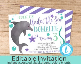 Under the sea invitation etsy dolphin birthday invitation under the sea invitation girl birthday invitation editable birthday invitation template instant download filmwisefo
