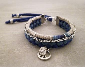 Blue Green Ocean Mens Bracelet, Mens Peace Bracelet, Men's Boho Jewelry Gift for Him, Quartz Bracelet Men, Mens Charm Bracelet