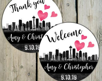 Seattle Skyline Favor Labels, Personalized Wedding Thank You Favor Stickers, City of Seattle Wedding Stickers, Destination Wedding Labels