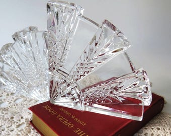 Vintage Crystal Bookends, Dorset Style Fan Shaped Clear Cut Cris Cross  Pattern, Library Decor