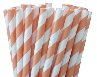 Light Orange and White Striped Paper Straws
