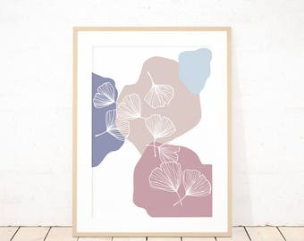 Pastel gingko leaf abstract shapes botanical printed modern wall art, digital illustration wall art decoration, pink and cream wall art