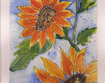 Original Watercolor and Ink, Sunflowers