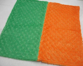 Orange and Green Minky Receiving Baby Blanket Double Sided 17 x 17 READY TO SHIP