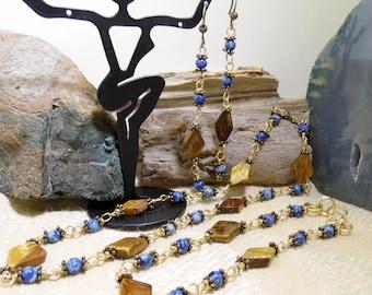 Dainty Tiger Eye Sodalite Beaded Necklace Bracelet & Earrings Set