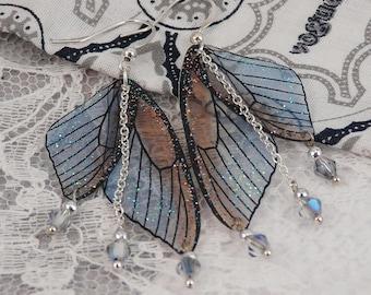 Blue & Brown sparkly fairy wings earrings