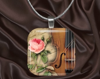 Rose and Violin Glass Tile Pendant with chain(CuMi5.14)