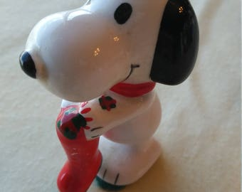 Vintage 1950s Snoopy Christmas Stocking Porcelain Hand Painted Ornament