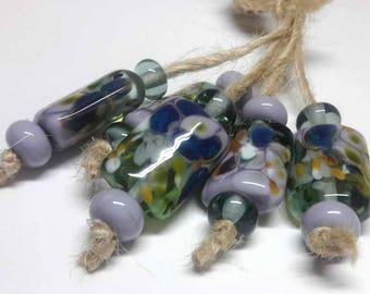 Lampwork beads handmade Beads supplies jewelry Beads for jewelry making Murano beads Set beads Beads SRA Beads lilac, blue, green.