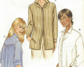 Womens Button Front Shirt Loose-fitting Shirt OOP Vogue Sewing Pattern 7700 Size 12 14 16 Bust 34 36 38 UnCut Vogue Patterns