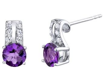 Amethyst Sterling Silver Arc Stud Earrings 1.50 Carats Total