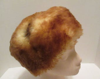 Vintage Shearling Brown Fur Hat. Sure to Keep the Top of Your Head Toasty Warm this Winter Season!