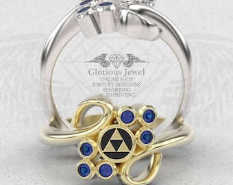 Glorious Zelda Ocarina Triforce Hyrule inspired ring Natural Sapphire & Enamel / 925 silver / 14K Gold / Custom made / Made to Order