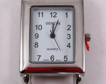 CLEARANCE Small Rectangle.. Interchangeable Ribbon Watch Face, White or Pink, Silver Plated