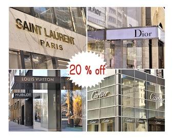 Paris fashion wall decor, fashion wall art set 4 fashion prints, Dior, Louis Vuitton, Saint Lauren, Cartier store sign nyc fashion shopping