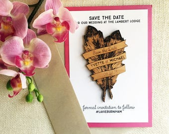 Feathers Save the Date Magnet - Bohemian Rustic Wooden Magnet - Initial Save the Date - Rustic Wooden Magnet - Custom Wedding Save the Date