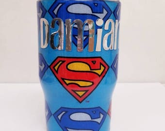 12 oz Stainless Steel kids Superman tumbler with lid and straw