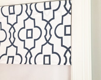 "Straight Valance.  Premier Prints Bordeaux Premier Navy.  Custom Sizing Available Up To 54"" Wide."