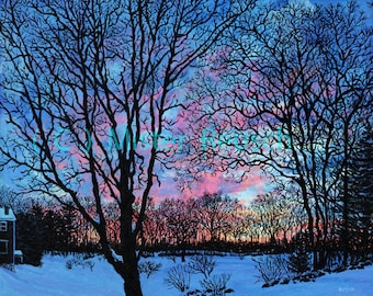 Winter Sunset at John Greenleaf Whittier's Birthplace signed print by Mark Reusch